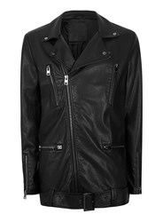 Topman Black Aaa Faux Leather Long Biker Jacket
