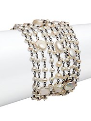 Stephen Dweck Pearl 4 10Mm Round Cultured Pearl Multi Strand Bracelet Silver