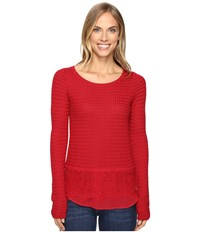 Lucky Brand Lace Mix Sweater Rio Red Women's Sweater