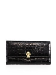 Alexander Mcqueen Skull Croc Embossed Leather Continental Wallet Black