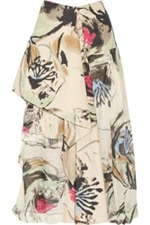 Marni Draped Printed Linen And Cotton Blend Maxi Skirt Beige