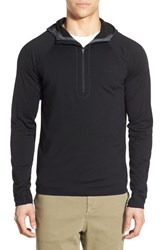 Men's Ibex 'Indie' Merino Wool Half Zip Hoodie Black