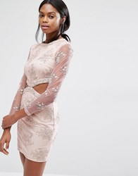 Missguided Floral Lace Cut Out Mini Dress Pink