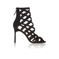 Manolo Blahnik Vagibuzip Caged Booties Black Suede