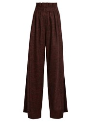 Stella Jean High Waisted Prince Of Wales Checked Trousers Burgundy