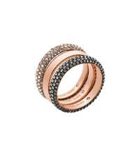 Michael Kors Pave Rose Gold Tone Ring Stack