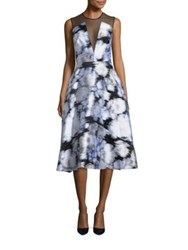 Lela Rose Tulle Yoke Ikat Fil Coupe Dress Ivory Multicolor