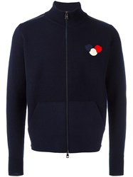 Moncler Logo Patch Zip Cardigan Blue