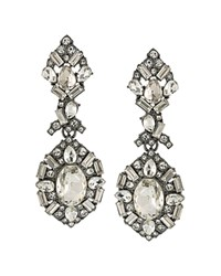 Abs By Allen Schwartz Embellished Chandelier Earrings Gunmetal