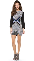 Myne Shift Dress With Contrast Sleeves Scarf