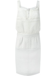 Chanel Vintage Cut Out Details Combo Dress White