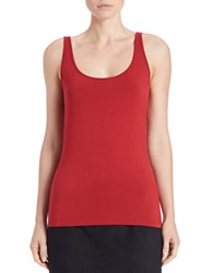 Lord And Taylor Stretch Roundneck Tank Red Dahlia