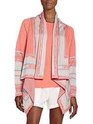 Bcbgmaxazria Border Print Open Front Jacket Pink Clay