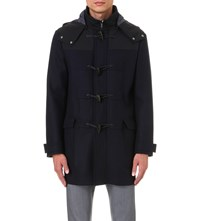 Armani Collezioni Toggle Detail Wool And Cashmere Blend Coat Navy