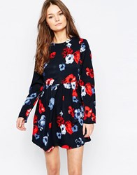 Yumi Long Sleeve Skater Dress In Dark Floral Navy Red Multi