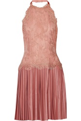 Sara Emanuel Lace And Faux Leather Dress Pink