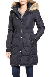 Rachel Roy Women's Faux Fur Trim Quilted Coat Navy