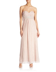 Cachet Strapless Beaded Gown Nude