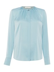 Hugo Boss Banora5 Silk Stretch Gather Neck Shirt Blue