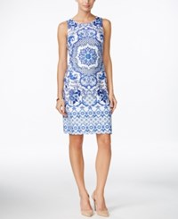 Charter Club Medallion Print Shift Dress Only At Macy's Blazing Blue