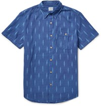 Faherty Seasons Slim Fit Ikat Print Cotton Shirt Blue