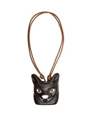 Loewe Cat Face Leather Necklace Black