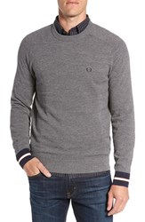 Fred Perry Men's Stripe Cuff Pique Knit Crewneck Sweater