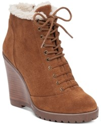 Jessica Simpson Kaelo Faux Shearling Lace Up Wedge Booties Women's Shoes Canela Brown