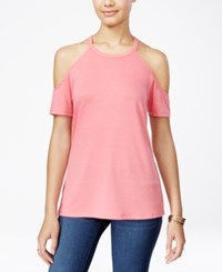 Rebellious One Juniors' Cold Shoulder Tee Dusty Pink