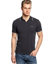 Armani Jeans Tipped Polo Navy Lt Blue