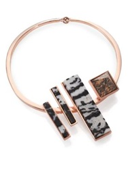 Eddie Borgo Zebra And Leopard Jasper Composition Collar Necklace Rose Gold Multi