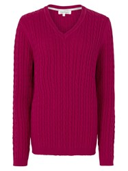 Tulchan Classic Cable V Neck Jumper Berry