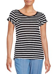 Splendid Striped Supima Cotton Blend Pocket Tee Black