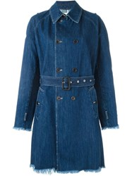 Each X Other Frayed Edge Denim Trench Coat Blue