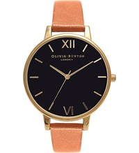 Olivia Burton Big Dial Leather And Yellow Gold Plated Watch