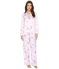 Carole Hochman Packaged Brush Back Satin Pajama Satin Blossoms Women's Pajama Sets White