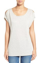 Women's Gibson Cold Shoulder Stripe Tee Heather Grey