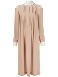 Veronique Branquinho Pleated Front Dress Nude And Neutrals