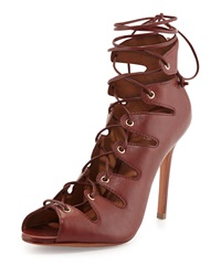 Schutz Slate Lace Up Bootie Red Clay