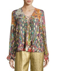 Etro Printed Lace Up Peasant Blouse Ivory