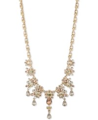 Givenchy Silver Tone Multi Crystal Cluster Collar Necklace Gold