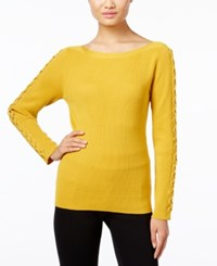 Inc International Concepts Lace Up Sweater Only At Macy's Polished Gold