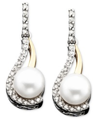 Macy's 14K Gold And Sterling Silver Cultured Freshwater Pearl And Diamond Accent Earrings
