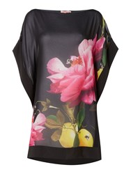 Ted Baker Cammira Floral Placement Print Cover Up Black