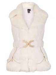 Izabel London Luxe Padded Gillet With Faux Fur Collar White