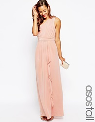 Asos Tall Wedding One Shoulder Sexy Slinky Maxi Dress Nude
