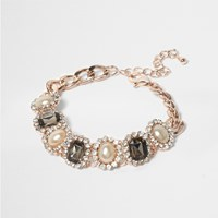 River Island Womens Rose Gold Tone Pearl Pave Bracelet