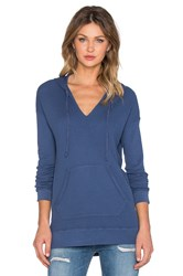 Splendid Thermal V Neck Hoodie Blue