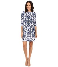 Vince Camuto Printed Crepe Long Sleeve Tee Body Blue Women's Dress