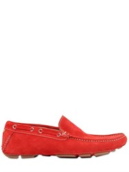 A.Testoni Crest Embroidered Suede Driving Shoes